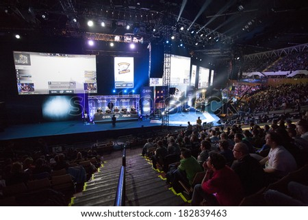 KATOWICE, POLAND - MARCH 16: Intel Extreme Masters 2014 (IEM) - Electronic Sports World Cup on March 16, 2014 in Katowice, Silesia, Poland. - stock photo