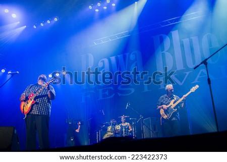 KATOWICE, POLAND - OCTOBER 11: Shawn Holt & The Teardrops at Rawa Blues Festival - The world's biggest indoor blues festival on October 11th, 2014 in Katowice, Silesia, Poland. - stock photo