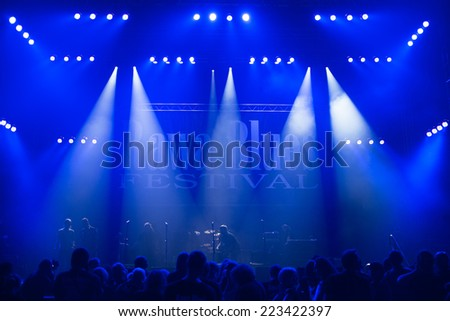 KATOWICE, POLAND - OCTOBER 11: Stage overview at Rawa Blues Festival - The world's biggest indoor blues festival on October 11th, 2014 in Katowice, Silesia, Poland. - stock photo