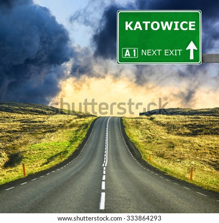 KATOWICE road sign against clear blue sky - stock photo