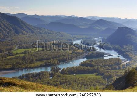Katun River Valley, Altai Republic - stock photo