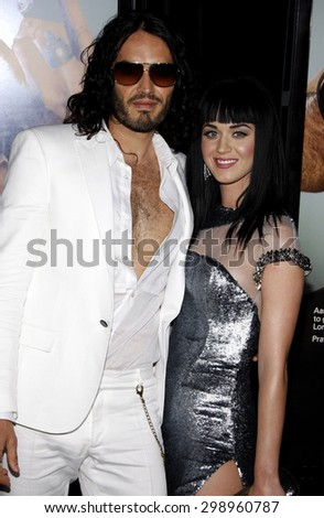 Katy Perry and Russell Brand at the Los Angeles premiere of 'Get Him To The Greek'  held at the Greek Theatre in Los Angeles on May 25, 2010.  - stock photo