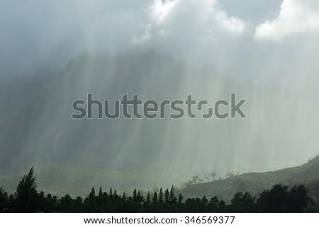 Kauai rainstorm, Hawaii - stock photo