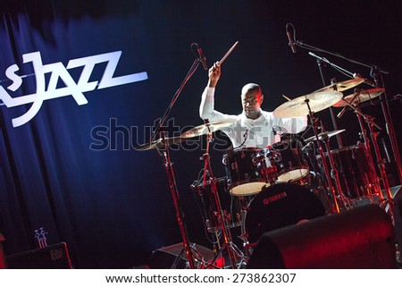 "KAUNAS, LITHUANIA - APRIL 25, 2015: Jazz drummer David Haynes performs at the stage of ""Kaunas Jazz"" festival as a member of  TILL BRONNER QUINTET. - stock photo"