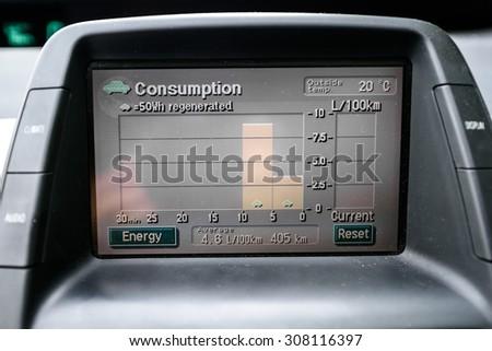 KAUNAS, LITHUANIA - JULY 17: Toyota Prius Hybrid car fuel consumption panel on July 17, 2015, Kaunas, Lithuania - stock photo