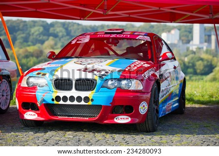KAUNAS - SEP 19: BMW E46 M3 sports-rally car on Sep. 19, 2014 in Kaunas, Lithuania. The BMW M3 is a high-performance version of the BMW 3-Series, developed by BMW's in-house motorsport division, BMW M - stock photo