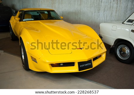 KAUNAS - SEP 19: Chevrolet Corvette on Sep. 19, 2014 in Kaunas, Lithuania. The Chevrolet Corvette is a sports car manufactured by the Chevrolet division of General Motors (GM). - stock photo