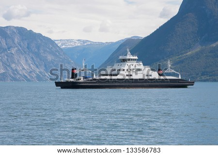 Kaupanger ferry on the Sognefjorden (Norway) - stock photo