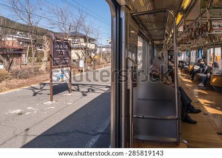 Kawaguchiko, JAPAN - March 02, 2015: Inside Fujikyu commuter train at the Kawaguchiko station. - stock photo