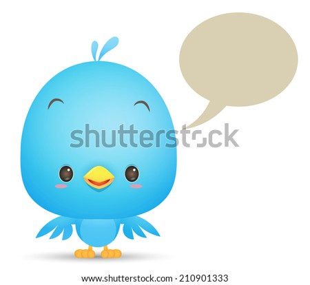 Kawaii Blue Bird with blank bubble talk icon - stock photo
