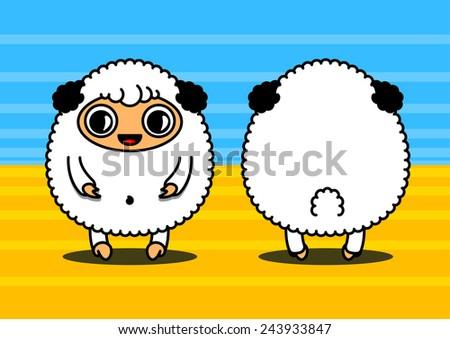 Kawaii style card with sheep characters couple - stock photo
