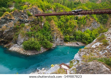 Kawarau Bridge near Queenstown. Commercial Bungy Jumping was born here in 1988 and every year tens of thousands make the 43 meter jump. - stock photo