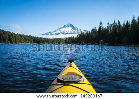 Kayak in Trillium lake, Mt. Hood, Oregon - stock photo