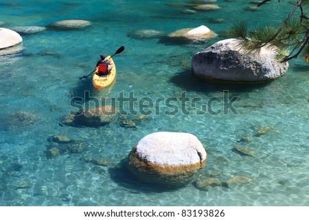 kayaker, Lake Tahoe - stock photo
