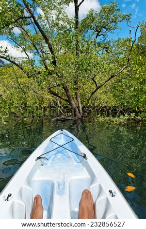 Kayaker or canoeist exploring the sea and shoreline off Launay beach in Mahe, Seychelles, showing his feet in the prow of the boat facing lush tropical vegetation onshore - stock photo