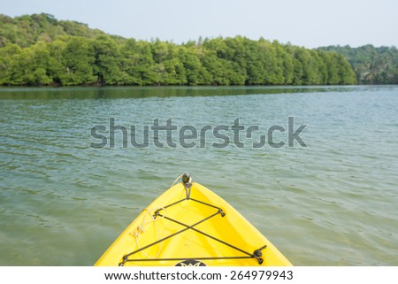 Kayaking along the sea,Beautiful beach at  Koh Kood island,Trat, Thailand - stock photo