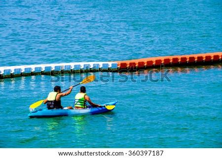 Kayaking in Thailand - stock photo