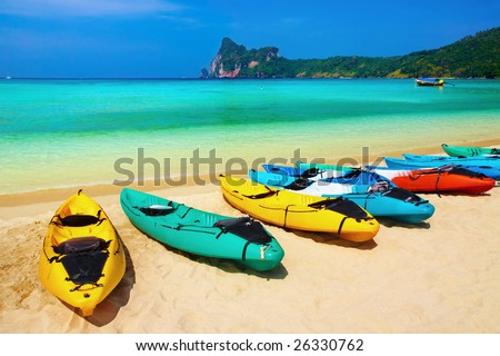 Kayaks on the tropical beach, Phi-Phi Don island, Thailand - stock photo