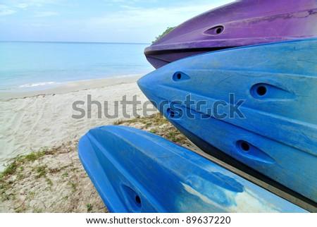 Kayaks on the tropical beach,Thailand - stock photo