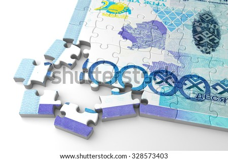 Kazakh Tenge Puzzle - stock photo