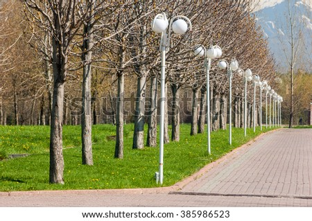 Kazakhstan, early spring. Park of the first president of the country. Central park at sunny day. beautiful green park - stock photo