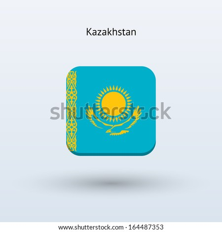 Kazakhstan flag icon. See also vector version. - stock photo