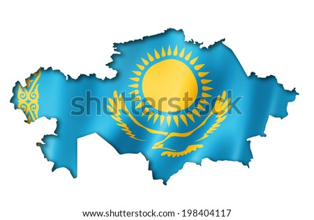 Kazakhstan flag map, three dimensional render, isolated on white - stock photo