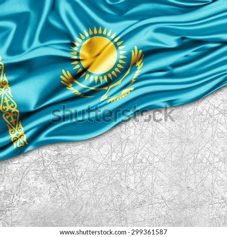 Kazakhstan   flag of silk with copyspace for your text or images and wall background - stock photo