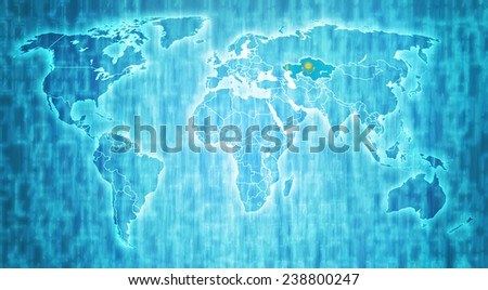 kazakhstan flag on blue digital world map with actual national borders - stock photo