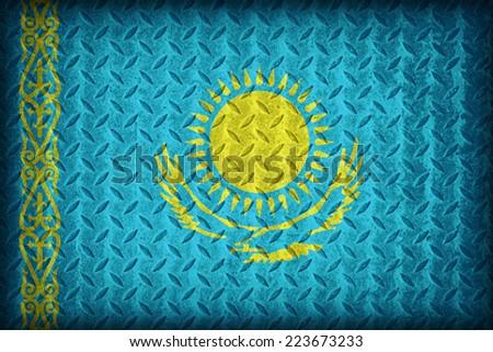 Kazakhstan flag pattern on the diamond metal plate texture ,vintage style - stock photo