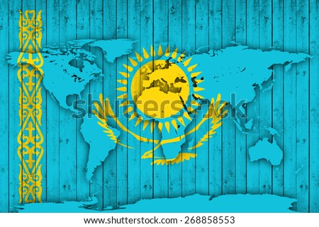 Kazakhstan flag with world map and wood background - stock photo