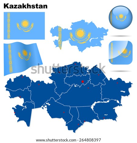 Kazakhstan set. Detailed country shape with region borders, flags and icons isolated on white background. - stock photo