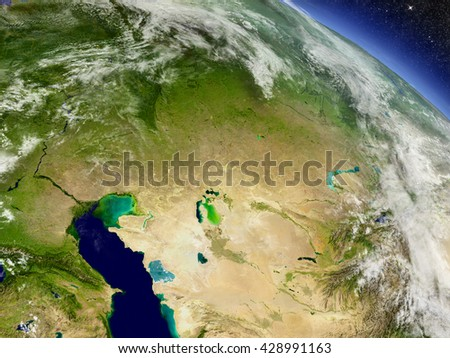Kazakhstan with surrounding region as seen from Earth's orbit in space. 3D illustration with highly detailed planet surface and clouds in the atmosphere. Elements of this image furnished by NASA. - stock photo