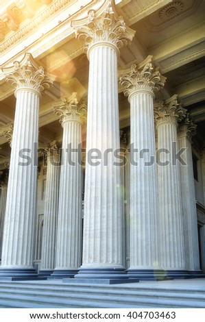Kazan Cathedral colonnade in Saint-Petersburg, Russia. Closeup facade view under soft sunny light. Soft filter processing - stock photo