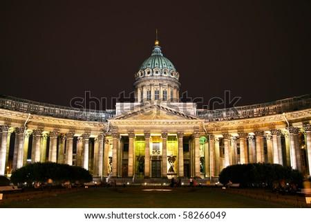 Kazan Cathedral or Kazanskiy Kafedralniy Sobor in St. Petersburg by night - stock photo