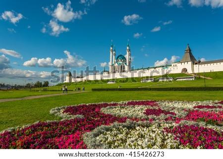 Kazan Kremlin and Kul-Sharif mosque in Summer, Tatarstan, Russia - stock photo