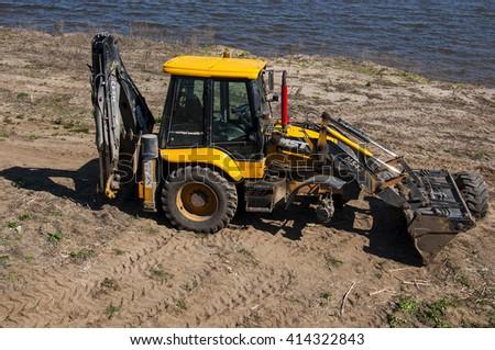 KAZAN - MAY 02: Broken tractor in Kazan city on May 02. 2016 in Russia - stock photo
