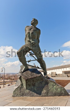 KAZAN, RUSSIA - APRIL 19, 2015: Monument to Musa Dzhalil, Soviet Tatar poet and resistance fighter in Kazan city, Republic of Tatarstan, Russia. Work of sculptor Tsigal and architect Golubovsky, 1966 - stock photo