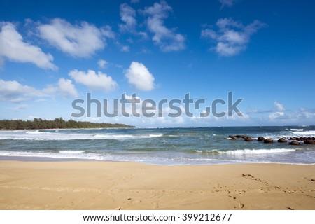 Kealia Beach, Kauai, Hawaii-2 - stock photo