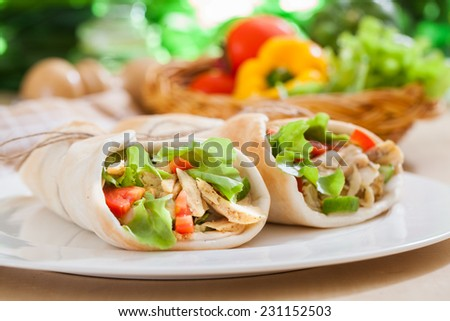 Kebab grilled meat and vegetables,Traditional Turkish - stock photo