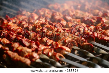 Kebab on the grill with smoke - stock photo
