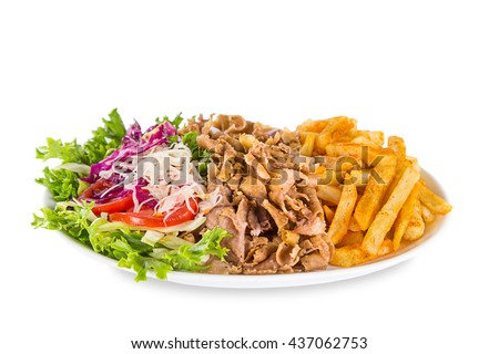 Kebab sandwich on white plate isolated - stock photo