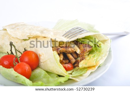 Kebab with vegetable and fork - stock photo
