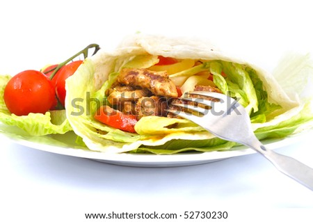 Kebab with vegetable fork - stock photo