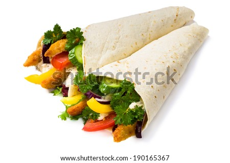 Kebab with vegetables and chicken isolated - stock photo