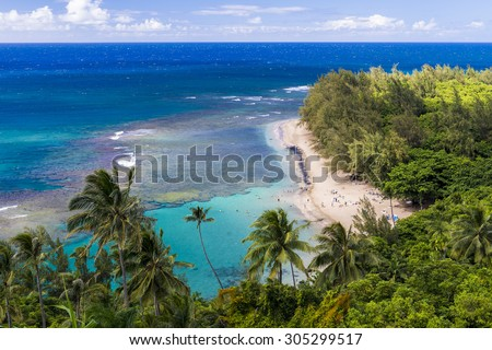 Kee Beach from Kalalau trail in Kauai, Hawaii  - stock photo