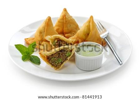 keema samosa with fresh mint dipping sauce , indian food - stock photo