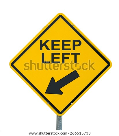 keep left yellow road sign on white background - stock photo