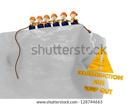 keep out from construction site sign with nice tiny 3d characters - stock photo