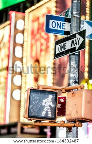 Keep walking New York traffic sign with illuminated and blurred background - stock photo